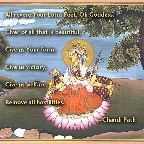 All revere Your Lotus Feet, Oh Goddess. Giver of all that is beautiful, Give us Your form, Give us victory, Give us welfare, Remove all hostilities. From Chandi Path