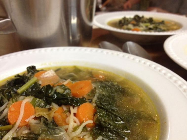 Soba Noodle and Kale soup